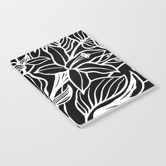 Black White Floral Notebook
