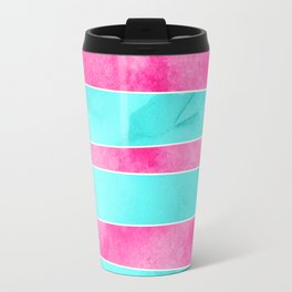 Turquoise pink hand drawn watercolor stripes Travel Mug