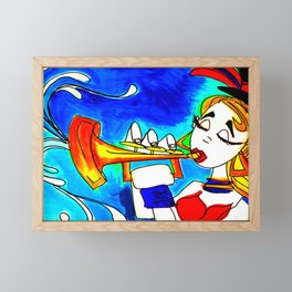 Lady on the trumpet Framed Mini Art Print