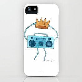 boombox holding a paper crown iPhone Case