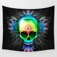 marijuana Wall Tapestries featuring Marijuana Psychedelic Skull by BluedarkArt
