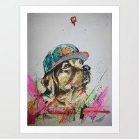 labrador Art Prints featuring LABRADOR by EDSON RAMOS
