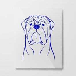 Bullmastiff (Grey and Blue) Metal Print