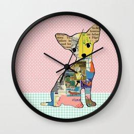 Cute Chihuahua Dog Collage with polka dots Wall Clock