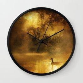 Bird in the misty Georgia M Baker Wall Clock