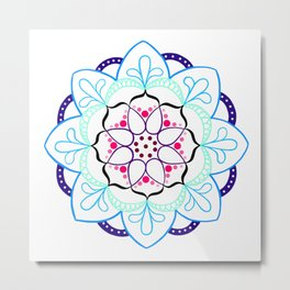Mandala I - Colour Outline I Metal Print