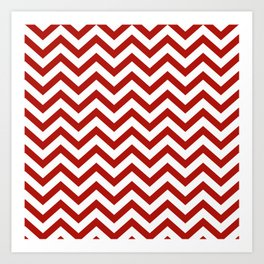 Simple Chevron Pattern - Red & White - Mix & Match with Simplicity of life Art Print