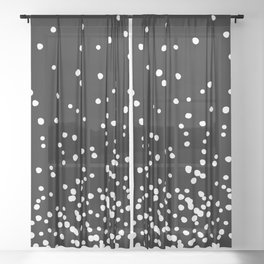 Floating Dots - White on Black Sheer Curtain