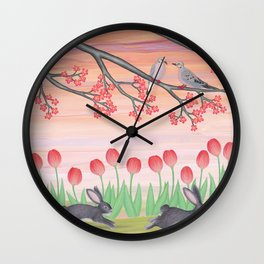 bunnies, tulips, and mourning doves Wall Clock
