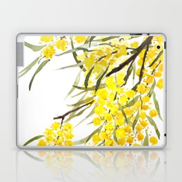 Godlen wattle flower watercolor Laptop & iPad Skin