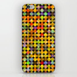 colorful geometric circle pattern abstract in orange yellow blue red iPhone Skin