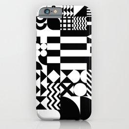 Geometric Shapes | Retro Bauhaus Pattern | Black & White Edition iPhone Case