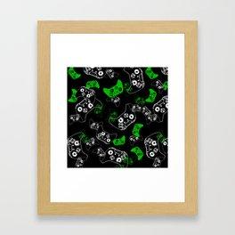 Video Game Black & Green Framed Art Print