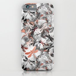 Dragonfly Lullaby in Marble and Rose Gold iPhone Case