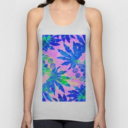 Tropical Adventure - Neon Blue, Pink and Green #tropical #homedecor Unisex Tank Top
