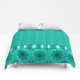 Peacock Green and White Abstract Mandala Tile Comforters
