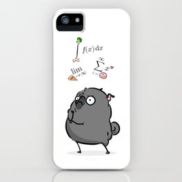 Deep Thoughts - black pug calculus iPhone Case