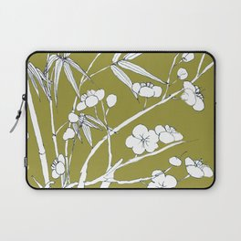 bamboo and plum flower in white on yellow Laptop Sleeve
