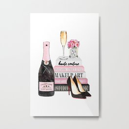 Champagne, pink, books, shoes, peonies, Peony, Fashion illustration, Fashion, Amanda Greenwood Metal Print