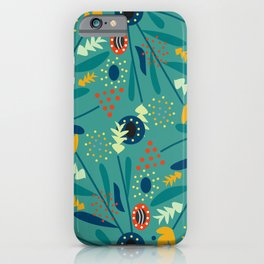 Floral dance in blue iPhone Case