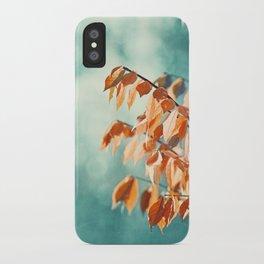 Teal Orange Nature Photography, Turquoise Aqua Burnt Orange Leaves Branches iPhone Case