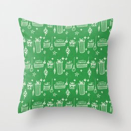 Christmas gift and ornaments Green and White Throw Pillow