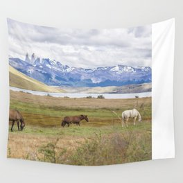 Torres del Paine - Wild Horses Wall Tapestry