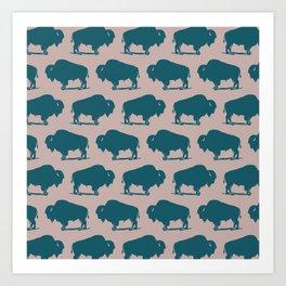Buffalo Bison Pattern 263 Green and Beige Art Print