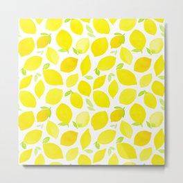 Beautiful Lemon Pattern Metal Print