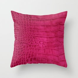 Croco leather effect - cherry Throw Pillow