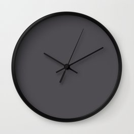 Dark Smoke Gray Solid Color Pairs With Sherwin Williams 2020 Trending Color Perle Noir SW9154 Wall Clock