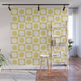 Yellow And White Checkered Flower Pattern Wall Mural