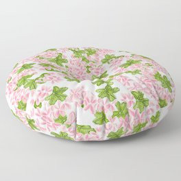 Modern hand painted pink watercolor flowers and green tropical leaf pattern Floor Pillow