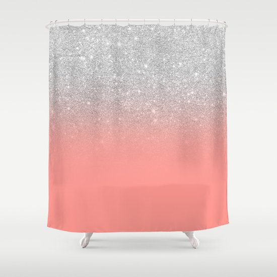 Modern chic coral pink silver glitter ombre gradient by girlytrend