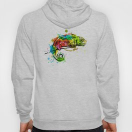 Colored hand sketch chameleon Hoody