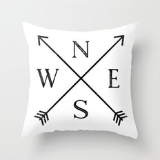 Black and White Compass Throw Pillow