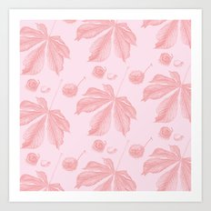 Horse Chestnut leaf and conker pale pink pattern Art Print