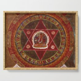 Vajrayogini stands in the center of two crossed red triangles Serving Tray