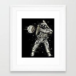 Space Baseball Astronaut Framed Art Print