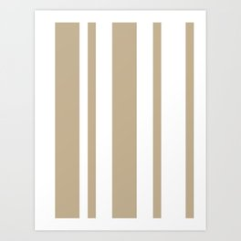 Mixed Vertical Stripes - White and Khaki Brown Art Print