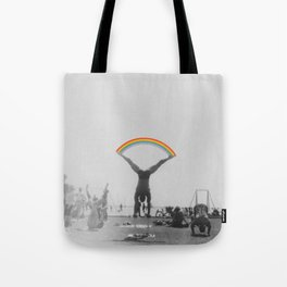 Straddle Rainbow Handstand Tote Bag