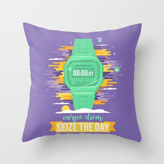 Carpe Diem - Seize the Day [green] Throw Pillow