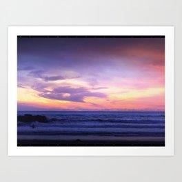 Sleepy Sunset Waves Goodnight Art Print