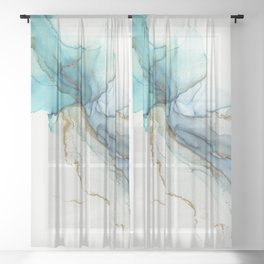 Abstract Jellyfish Alcohol Ink Painting Sheer Curtain