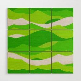 Waves - Lime Green Wood Wall Art