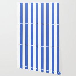Han blue - solid color - white vertical lines pattern Wallpaper
