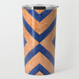 Chambray Blue & Hit Pink Geometry Vector Pattern Travel Mug