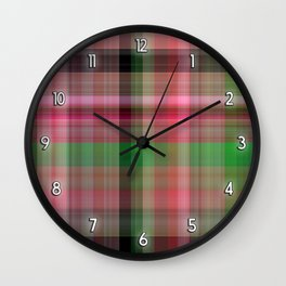 Pink Roses in Anzures 2 Plaid 1 Wall Clock