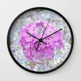 LILAC & WHITE PHLOX FLOWERS Wall Clock
