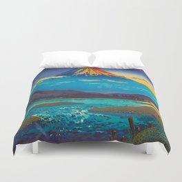 Tsuchiya Koitsu Tokaido Fujikawa Japanese Woodblock Print Sunset Colorful Hues Mountain Landscape Duvet Cover